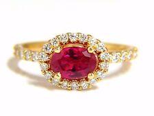 Certificado de GIA 1.01ct Corte Ovalado Rubí Rojo & .50 Quilates Diamantes