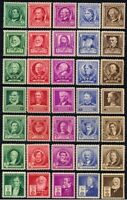 USA Scott  #859 - 893 Mint NH Complete Set of 35 1940 Famous American Stamps