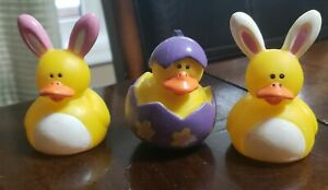 Miniature Easter Rubber Ducky Bunnies and Egg Rubber Yellow Rubber Ducky (3)