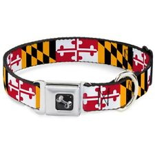 """Buckle-Down 18-32"""" Maryland Flags Dog Collar Bone, Wide Large"""