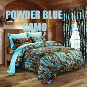 Powder Blue Camo 12 pc Queen size Comforter and Sheets pillowcases curtains set