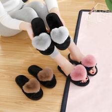 Women Plush Fleece Heart Shape Slip on Indoor Home Mulles Slippers Shoes