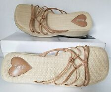 MUDD Tan Platform Low Wedge Strappy Slides Faux Leather Sandals Women SZ 9 M
