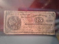 Deep Orange Small Pasteboard Note Unc. 1914 Mexico//Revolutionary 5 Centavos