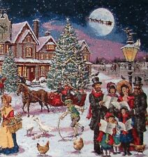 CHRISTMAS SCENE CAROL SINGERS BELGIAN TAPESTRY CUSHION COVER G580 WITH ZIP