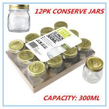 12 Glass Jam Jar w/h Top lid 300ml Storage mini wedding party Food Conserve Jars