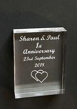 Personalised Wedding Anniversary Gift keepsake... Laser Engraved