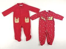 LOT of 2 - First Impressions One-piece Christmas Sleeper - size 6-9 months