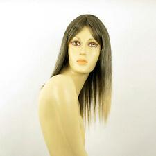 Perruque femme mi-longue Brun méché doré : LAURY 1BT24B