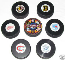 ORIGINAL SIX NHL HOCKEY TEAMS 7 PUCK LOT Blackhawks Bruins Canadiens Maple Leafs