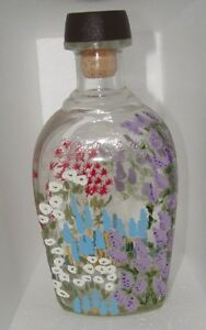 Glass Liquor Bottle with Hand Painted FLOWERS     3D LOOK