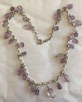 Antique Silver Amethyst Lavaliere Necklace Belcher Chain