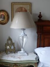 Shabby Chic French Style Glass & Wood Urn Base Table Lamp Light With Linen Shade