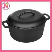 Cast Iron Dutch Oven with Dual Handle Pre-Seasoned Pot Lid Kitchen Cookware 5 qt