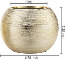 6.75 Inch Round Modern Metallic Gold Tone Ridged Ceramic Bowl Flower Planter