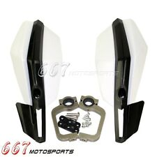 2x White Motocycle Motorcross Enduro Trail Hand Guards For CR KX RM YZ DR KMX XR