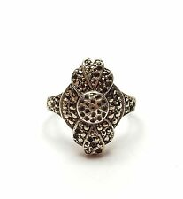 Vintage 925 Sterling Silver ART DECO STYLE MARCASITE COCKTAIL CLUSTER RING 7.2g