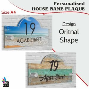 House,Office Sign / Plaque A4 Size (297mm x 210mm) Number Street Name - Acrylic
