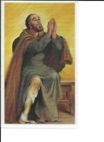 """Holy Card of St. Peregrine Laziosi Patron Cancer& a 1 1/8"""" Medal of the Saint"""
