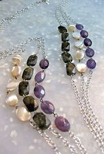"""Silver Multi Chain Gemstone Necklace Amethyst Labradorite & Mother of Pearl 20"""""""