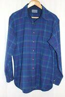 Pendleton Men's Medium Blue Green Plaid 100% Pure Virgin Wool Button Down Shirt