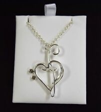 Silver Bass And Treble Clef Heart Necklace (J15)