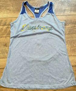 NIKE driFIT Blue LIVESTRONG Logo Gym Yoga Athletic Running Tank Top wmns Medium