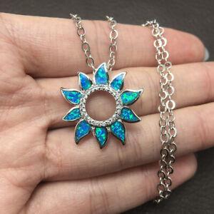 "Sunflower Blue Fire Opal SP Silver Necklace Pendant Chain 19""~22"""