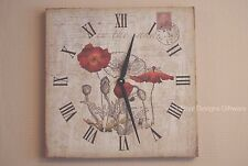 Poppy Wall Clock Poppies Large Square Clock 40cm ideal Gift SG1237
