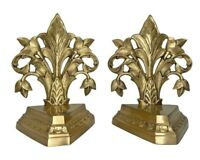 Vintage Wildwood Ornate Hand Cast Brass Fleur de lis Bookends Gold Finish 8.5""