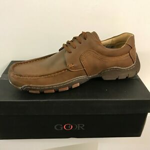MENS GOOR CASUAL Lace UP SHOES SIZE UK 6 - 12 MOCCASIN BROWN