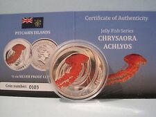 Pitcairn 2011 serie delle Meduse CHRYSAORA achlyos SILVER PROOF MONETA $2