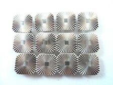 """12 Square Radiating Lines Open Center Silver Tone Studs Clothing Leather 5/8"""""""
