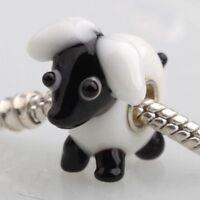Pretty White Sheep Charm Bead for European Jewellery