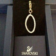 GENUINE SWAROVSKI® PAVE CHARM PENDANT W/ SIGNED LOBSTER CLASP~GOLDEN OVAL
