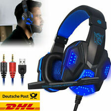 Gaming Headset Kopfhörer 3.5mm LED Mikrofon für PC Laptop PS4 Xbox One Switch