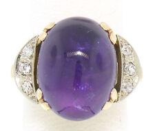 Antique 14k Solid Gold Single Cut Diamond & Large Cabochon Amethyst Ladies Ring