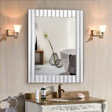 "23.5"" x 31.5"" Rectangle Wooden Frame Wall Vanity Mirror w Resin Diamond Bathroom"
