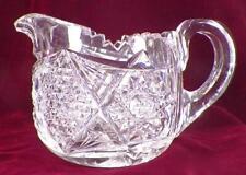 American Brilliant Cut Glass Creamer Hobstars Buttons Diamonds PATTERN HELP