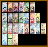(24 Pcs Full Set) Venezuela 2-500-100,000 Bolivares & Soberano, 2007-2019 New