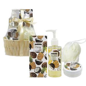 Bath & body gift basket 4 Piece Mandarin Mango and Tropical in a small basket