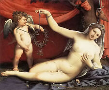 Oil painting Lorenzo Lotto - venus and cupid in landscape free shipping cost
