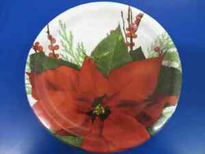 """Pure Poinsettia Holly Flower Christmas Holiday Party 9"""" Paper Dinner Plates"""