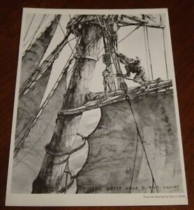 "John A Noble Small Black & White 1969 Print titled ""TOPSAIL SHEET HOOK"""