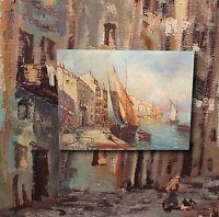 Hafenszene im Golf von Neapel. Schönes, original altes Ölgemälde signiert MALINI