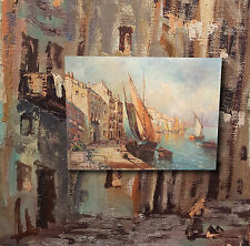 Scena di porto im Golf von Napoli. Bello,originale vecchio Dipinti a olio