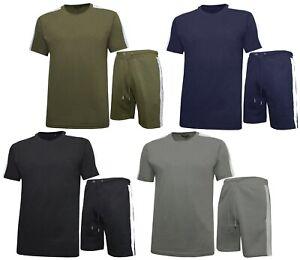 Mens T-shirt and Shorts Outfit Set Top & Fleece Shorts Casual Zip Pockets S-2XL