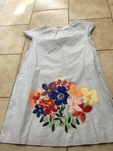 HANNA ANDERSSON Light Gray Screen printed Floral Dress, Size 150 (12)