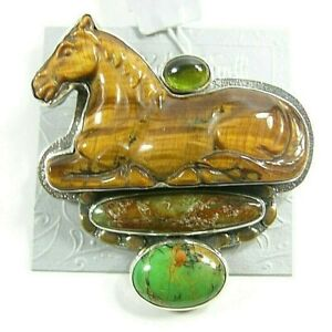 AMY KAHN RUSSEL Carved Tiger's Eye Horse Turquoise Sterling Silver Pin Pendant