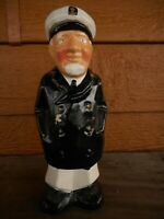 """Vintage Ship Captain Figurine coin bank apx 8"""" tall Old Man Kitschy Fiber Board"""